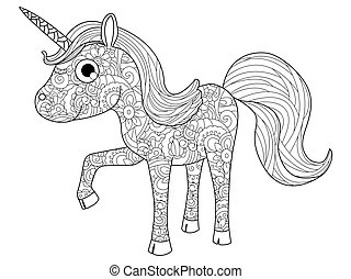 Children Toy unicorn coloring vector for adults - Children...