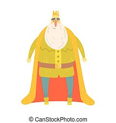 Fat Gentle King With Bushy White Beard In Red Mantle...