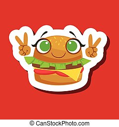 Burger Sandwich Smiling Showing Peace Gesture, Cute Emoji Sticker On Red Background