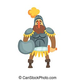 Roman Knight With Shield In Skirt Fairy Tale Cartoon Childish Character