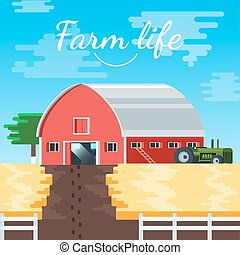 Vector Farm House Illustration Background