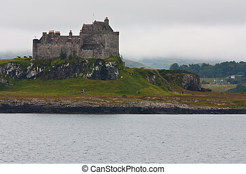 Scottish castle close to Oban, south Scotland, in a cloudy...