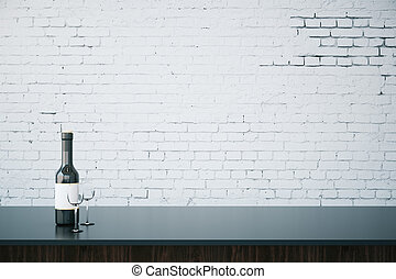Bar counter with blank wall - Close up of bar counter with...