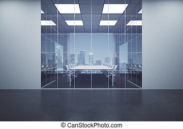 Dark concrete boardroom with night city view. 3D Rendering