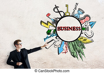 Entrepreneurship concept - Attractive young businessman...