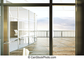 Contemporary office with balcony