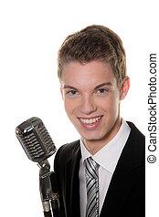 joven, Cantante, Retro, Mic, cantar, karaoke