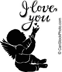 Silhouette baby angel with text I love you - Silhouette baby...