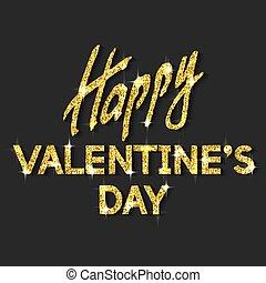 Happy Valentine's Day Unusual Golden Glittering Congratulation Card.