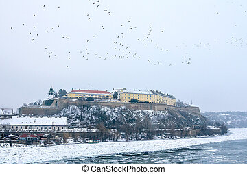 Petrovaradin fortress in Novi Sad, Serbia, in winter - Novi...