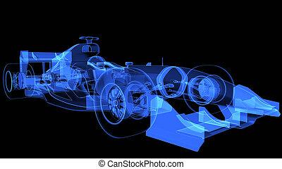radiografía, coche, deporte, Ilustración,  3D