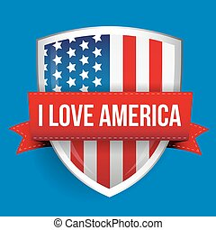 I love America shield with flag