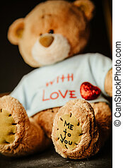 Beautiful background for Valentine's day with Teddy bear and heart