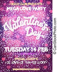 Valentines Day background or banner template with blurred...