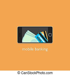 Mobile banking concept. Flat design style