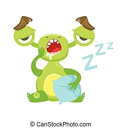 Sleepy Funny Monster Yawning WIth Pillow, Green Alien Emoji Cartoon Character Sticker