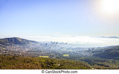 Cape Town - Aerial view of downtown Cape Town in morning fog
