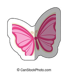 sticker with a pink butterfly
