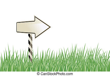 arrow sign in the grass