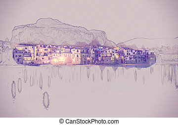 View on habour and old houses in Cefalu at night, Sicily....