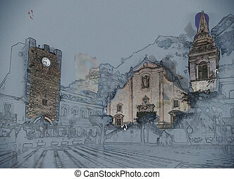 View over the main square in Taormina, Sicily, Italy,...