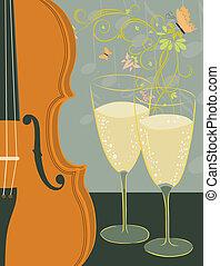 violin and champagne