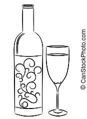 vino, botella, vidrio