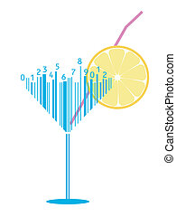 cocktail stylized as barcode
