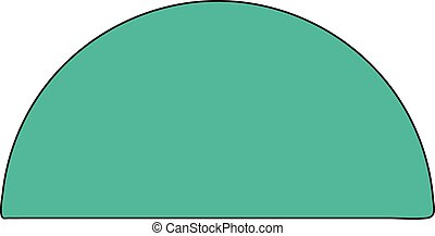 green semicircle - Green semicircle on a white background.