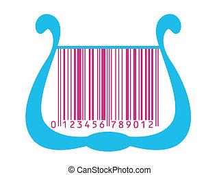 harp stylized as barcode