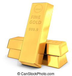 pure gold bullions on white background 3D illustration