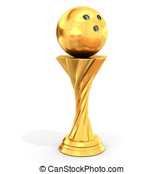 trophy with bowling ball on white background 3D illustration