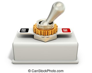 toggle switch, power on off on white background 3D...