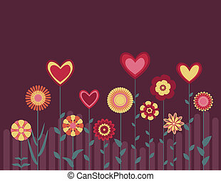 retro abstract flowers and hearts