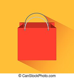 shopping bag icon over yellow background. colorful design....