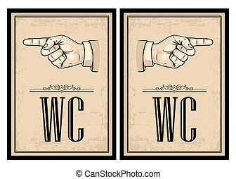 Pointing finger. Vector vintage illustration on beige...