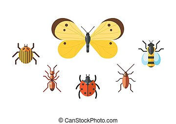 Insect icon flat set isolated on white background. Nature...