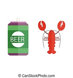 Beer and lobster vector illustration. - Alcohol beer and...