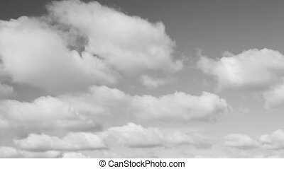Beautiful Gray Tone Sky and Clouds Loop - Fluffy clouds move...