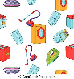 Home appliances pattern, cartoon style - Home appliances...