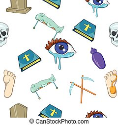 Funeral services pattern, cartoon style - Funeral services...