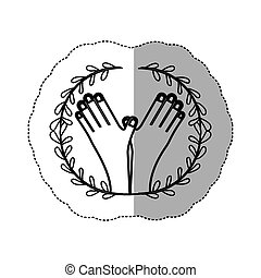 sticker contour ornament leaves with crossed hand