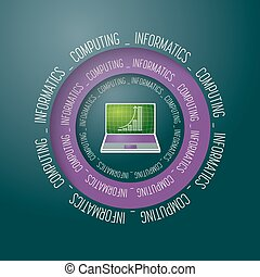 Colored vector abstract object and the words informatics,...