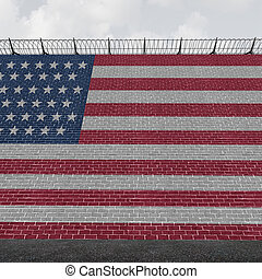 American Border Wall - American border wall concept as a...