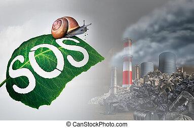 Environmental Emergency - Environmental emergency concept as...