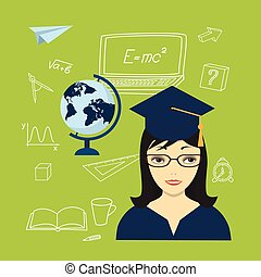 girl in the academic cap, globe and hand drawn icons - Flat...