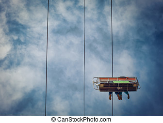 Up High - The sky tram at a fairgrounds in southern...