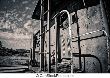 Caboose (B&W) - A train caboose sitting in southern...