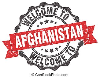 Afghanistan round ribbon seal