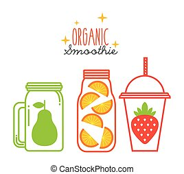 smoothies juice design - glasses with smoothies of fruits...